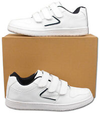 Mens New White Velcro Sports Leisure Trainers Size 6 7 8 9 10 11 12