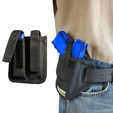 New Barsony Ambidextrous Pancake Holster + Dbl Mag Pouch Bersa Compact 9mm 40 45