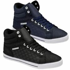 Mens Hi Tops Trainers DUNLOP Ankle Flat Pumps Quilted Fashion Boots Shoes Size