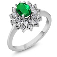 1.20 Ct Oval Green Simulated Emerald 925 Sterling Silver Ring