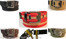 Men Women Web Cotton Canvas Grommet Holes Casual Dress Jeans Leather Belt Buckle