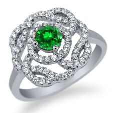 1.87 Ct Round Green Simulated Emerald 925 Sterling Silver Ring