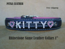 Rhinestone Dog Collars - Custom Leather Dog Collars - Crystal Dog Collar - Large