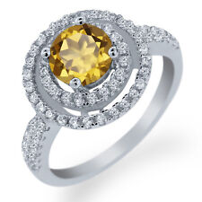 1.76 Ct Round Champagne Quartz 925 Sterling Silver Ring