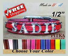 Personalized Bling Bling Puppy Leather Collars - USA made Name Dog Collars - XS