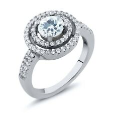 1.71 Ct Round Natural Sky Blue Aquamarine 925 Sterling Silver Ring