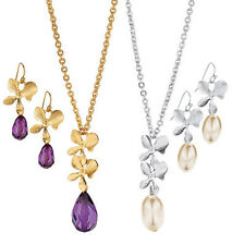 Avon Fancy Floral Necklace Earrings Set Goldtone Faux Amethyst Silvertone Pearl