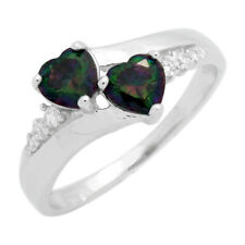 925 Sterling Silver Twin Hearts Synth Mystic Fire Topaz Rainbow Ring