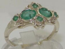 Rare Unusual Solid 925 Sterling Silver Natural Emerald Victorian Style Ring