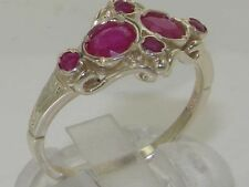 Rare Unusual English Solid 925 Sterling Silver Natural Ruby Victorian Style Ring