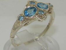 Rare Unusual Solid 925 Sterling Silver Natural Blue Topaz Victorian Style Ring