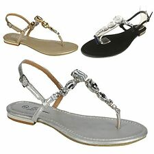 NEW Women's Colored Jewel Gem Rhinestone Studded T-Strap Ankle Strap Flat Sandal