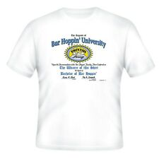 NOVELTY T-shirt Bar Hoppin' University Beer Drinking Party Funny Shirt