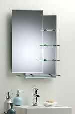 BATHROOM WALL MIRROR Modern Stylish WITH SHELVES Double Rectangular Plain