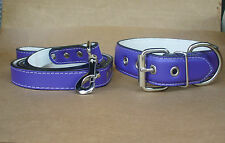 "Purple Leather Lead and Collar set, 1.5"" XL Larger Dog"