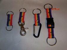 Gay Pride Rainbow Webbed Nylon Key Chains