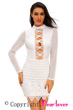 White Pleated Studded bodycon dresses with long sleeves women party winter