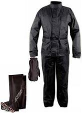 Waterproof Motorcycle Apparel 4 pc Rain Suit Jacket Trousers Gloves Boots