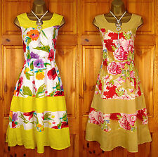 NEW EXCHAINSTORE YELLOW PINK RED WHITE BLUE GREEN FLORAL SUMMER COTTON SUN DRESS