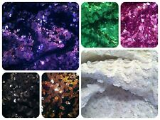 6mm Large Shiny Sequins on Heavy Stretch Knit Thermal Polyester Nylon Fabric