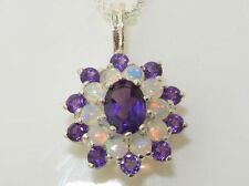 """Solid 925 Sterling Silver Natural Opal & Amethyst Pendant & 16""""18"""" or 20"""" Chain"""
