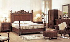 Bella 4Pcs Bedroom Set King Queen Size Bed in Ash Brul Finish Bedroom Furniture