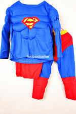 2-7 SuperMan Boys Kids 3pc Muscle Costume Set Halloween Party Dress Up Outfit