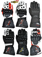 ForceRiders® Motorbike Leather Summer Racing and Sport Gloves Full Guantlet