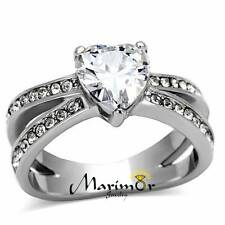 Stainless Steel Stunning Heart Shape AAA CZ Engagement Wedding Ring Band Sz 5-10