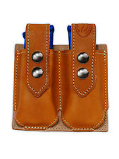 NEW Barsony Tan Leather Double Magazine Pouch for Colt Kimber Compact 9mm 40 45
