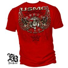 New USMC FOIL STAMPED PRIDE DUTY HONOR RED LICENSED T-Shirt  MILITARY MARINES