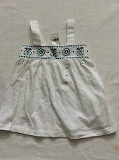 Girls GAP BNWT White & blue embroidered cotton vest  top  age 2 years