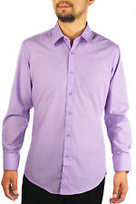 New Slim Fit Amanti Mens Lavender  Solid Dress Shirt