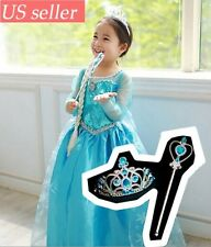 Frozen Elsa Kid Child Dress Clothes Costume Holiday Christmas Gift Dress Gown
