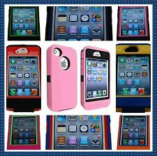 Multi Color Hybrid Body Armor Rubber Silicone Cover Case  For Apple iPhone 4 4S