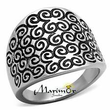 STAINLESS STEEL HIGH POLISHED SWIRL EPOXY DESIGN FASHION RING WOMEN'S SIZE 5-10