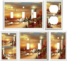 LIGHTHOUSE SEAGULLS & SAILBOAT BEACH SUNSET LIGHT SWITCH OR OUTLET COVER V650