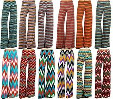 N21 WOMAN'S Sexy Trendy High Waist Wide Leg CHEVRON ZIGZAG PALAZZO PANTS 1339A
