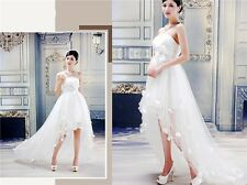 New Style White Front Short Back Long Bridal Gown Bow Women's Wedding Dress