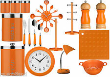 Orange Kitchen Storage Tea, Coffee,Sugar ,Cutlery Set, Clock And Accessories