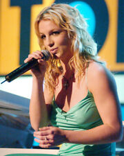 BRITNEY SPEARS GREEN DRESS HOLDING MICROPHONE PHOTO OR POSTER