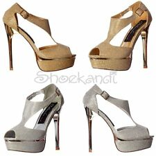 WOMENS HIGH HEEL SPARKLY SHIMMER PEEP TOE METALLIC HEEL PARTY STILETTO SHOE SIZE