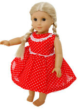 FRILLY LILY RED SPOTTY DRESS   12-14 INCH DOLLS MY 1st ANNABELL  1st BABY BORN