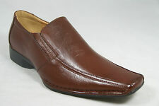 BB&W M1758 Men's Brown Work Place Formal Dress Business Casual Slip-On Shoes