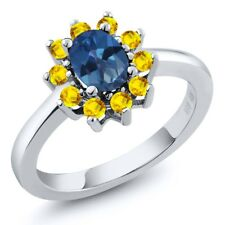 1.45 Ct Oval Royal Blue Mystic Topaz Yellow Sapphire 18K White Gold Ring