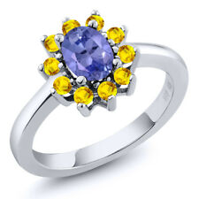 1.25 Ct Oval Blue Tanzanite Yellow Sapphire 925 Sterling Silver Ring
