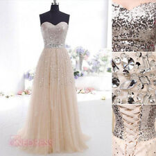 New Ladies Champagne Sequins Homecoming Party Evening Gown Prom Cocktail Dresses
