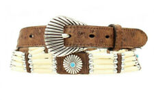 Nocona Western Womens Belt Bead Southwest Concho Leather Brown N3411802