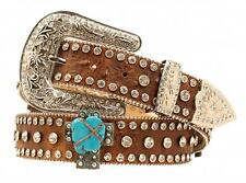 Nocona Western Womens Belt Leather Crystals Cross Distressed Brown N3415902