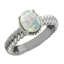 1.60 Ct Oval Cabouchon White Opal 14K White Gold Ring